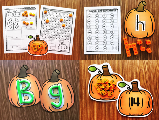 Pumpkin themed center, morning work, or STEM activities from Simply Kinder.