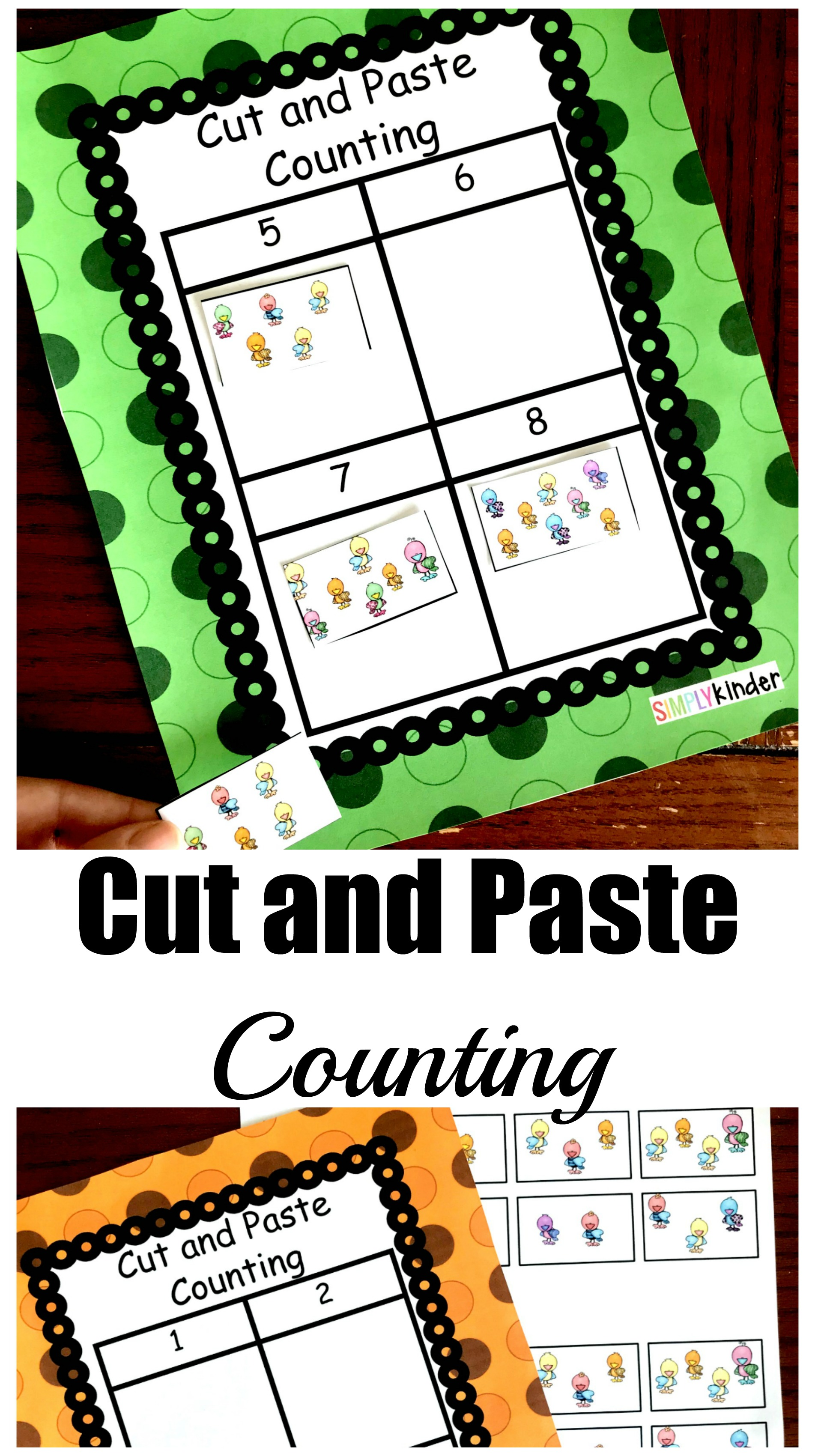 Free Cut and Paste Counting and Number Recognition Activity