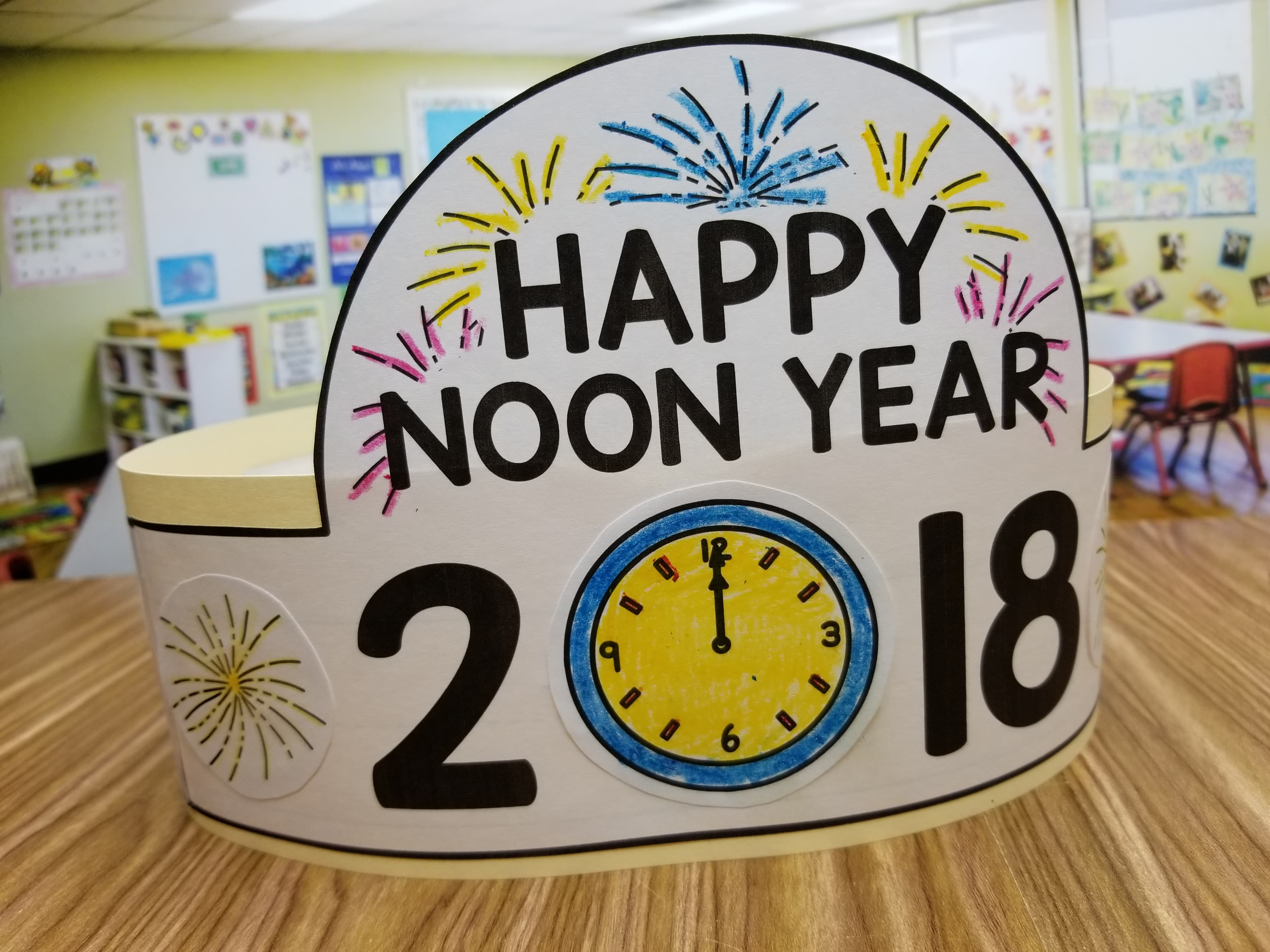 Celebrate New Years with your students by having a Noon Years Celebration! Students will love this New Year Hat!