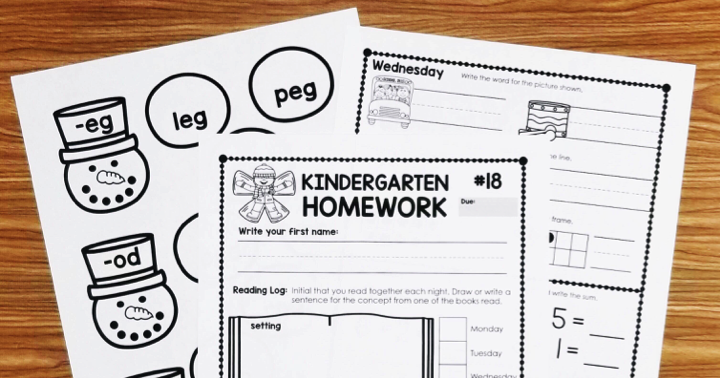 Kindergarten Homework – Third Quarter