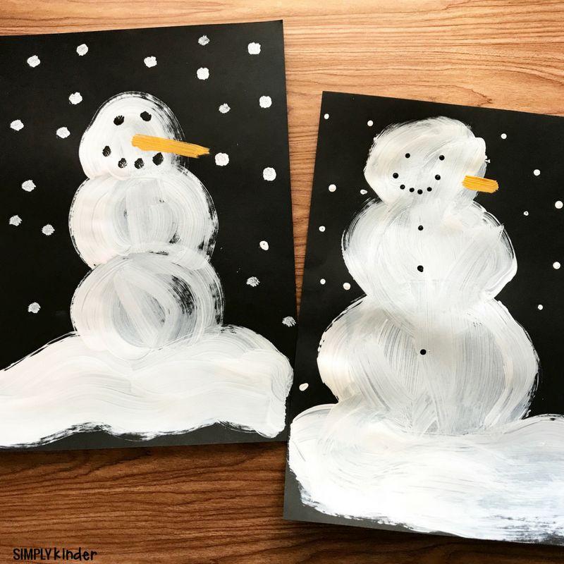 Snowmen At Night Painting