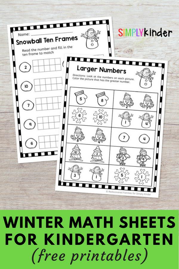 FREE snowman math sheets