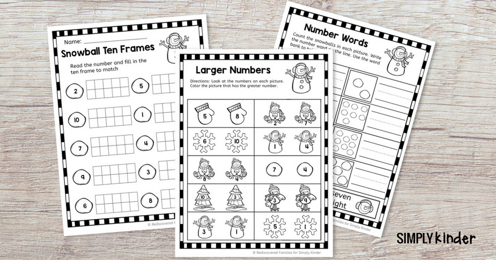Easy Winter Math Sheets for Kindergarten (free printable)
