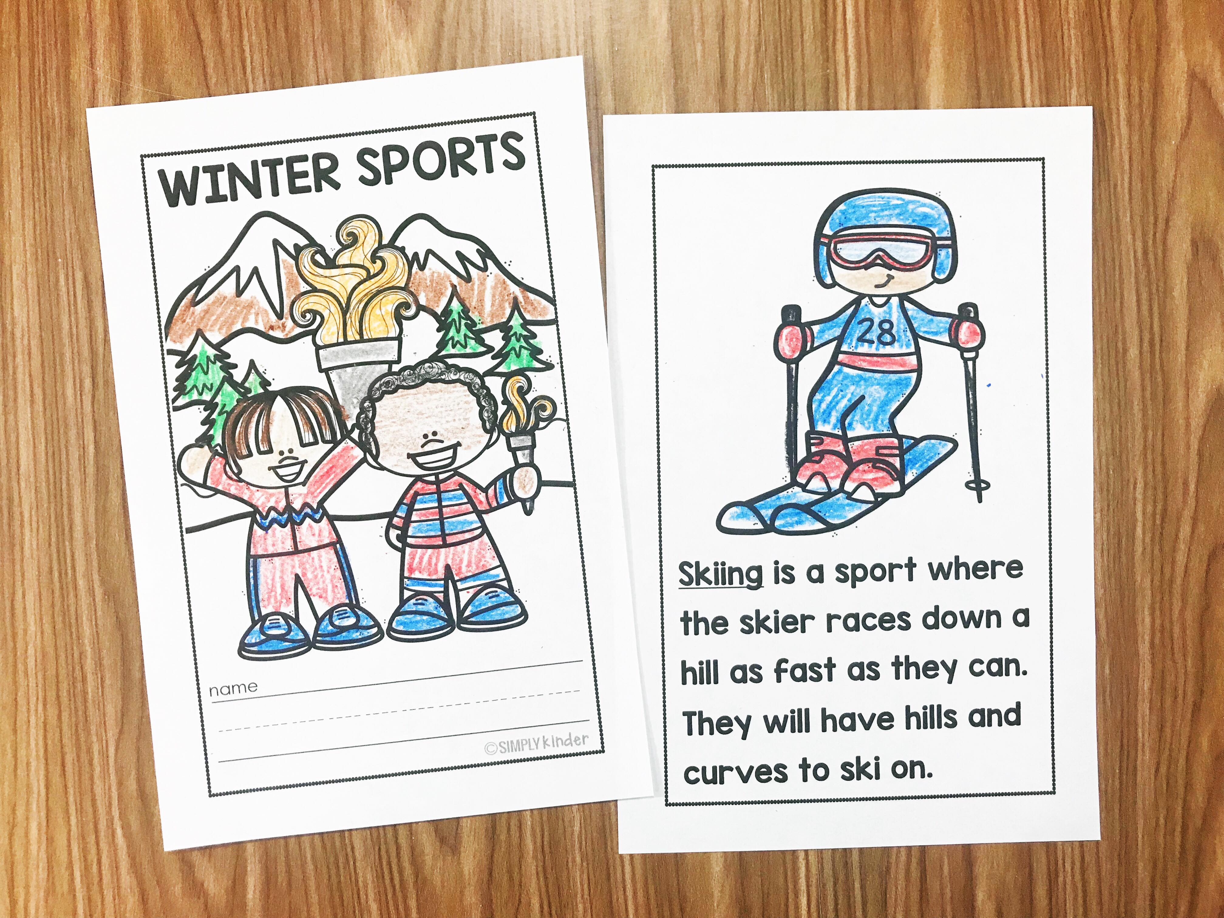 Are you ready to learn more about winter sports?  We have an easy reader see that is perfect to give just the basics of many sports you will see. Students will love coloring the pictures and parents will love reading it together at home.  Perfect for preschool, kindergarten, and first grades from Simply Kinder.