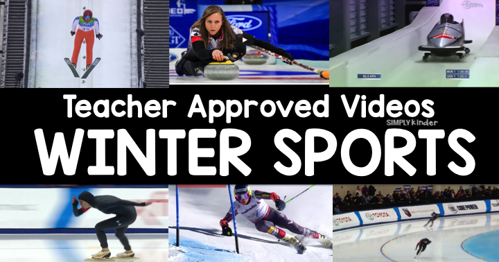 Teacher Approved Winter Sports Videos! Bobsledding, figure skating, curling, freestyle skiing, and much more. Your preschool, kindergarten, and first grade students will love watching these clips of winter athletes! Teacher approved Winter Sports Videos by by Simply Kinder!