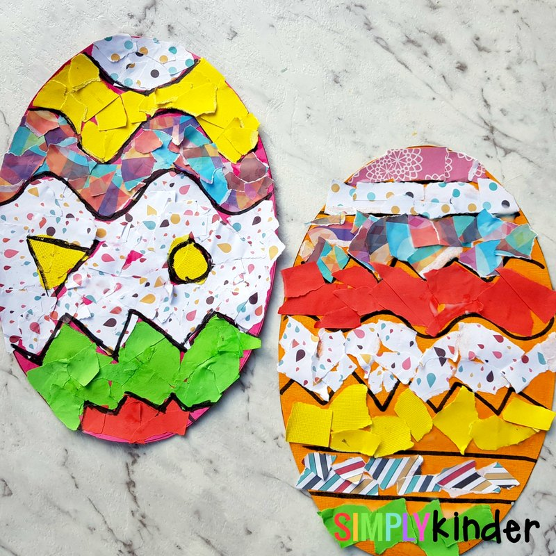 Ripped Paper Easter Egg Collage