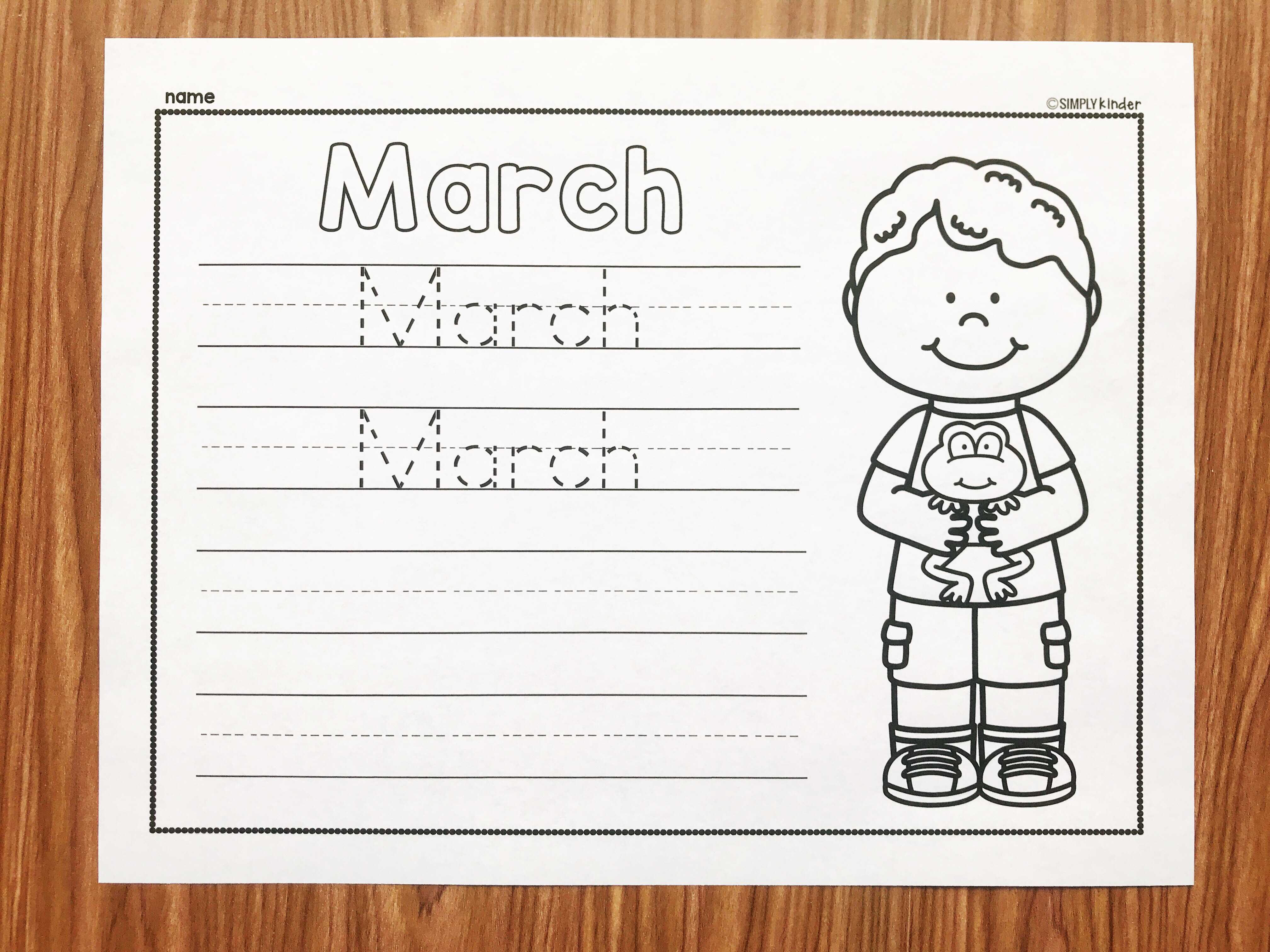 Teach your students to write the word March with these free March Writing Printables from Simply Kinder. Perfect for kindergarten and first grade students.