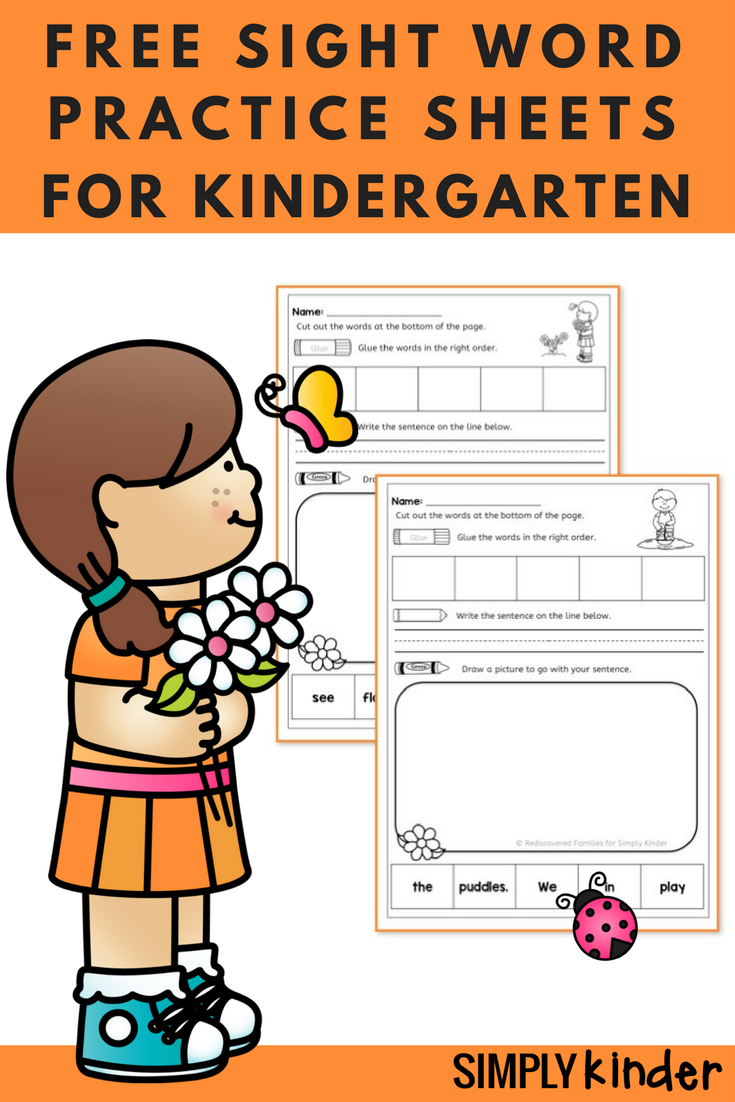 Free Spring Sight Word Practice Sheets