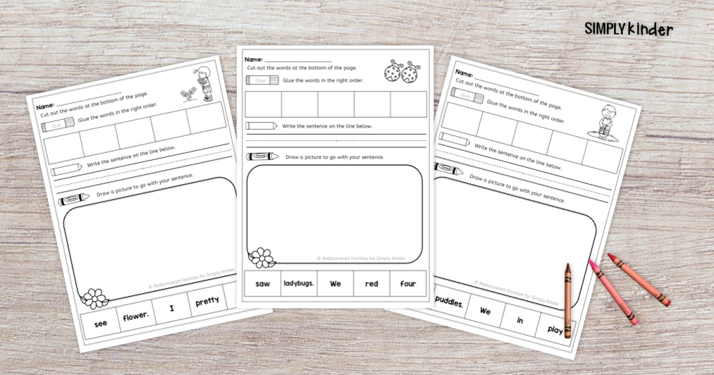 Free Spring Sight Word Practice Sheets for Kindergarten