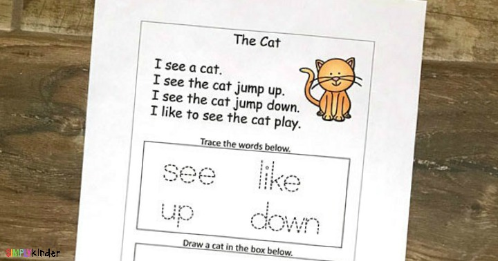 kindergarten sight word printable cat story