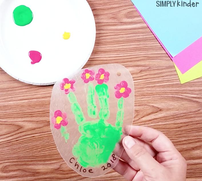 Flower Handprint Shinky Dink Keychain