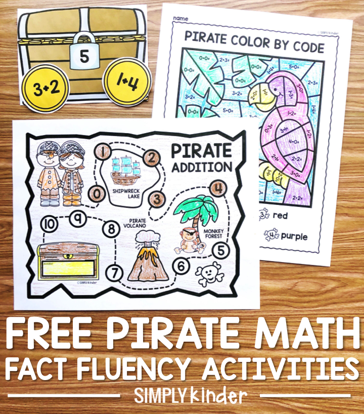 Free math fact fluency activities perfect for your kindergarten and first grade students. Students will love using the pirate map to navigate the facts they have mastered. They will use the activities like color by codes and a center to work on their facts.