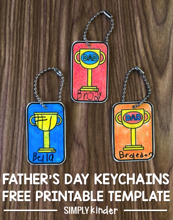 Shrinky Dink Father's Day Keychain dads will love. Print the template, color, cut, bake, and put on a keychain! The perfect Father's Day give for preschool, kindergarten, and first grade students to give their dads. Free Father's Day printable template from Simply Kinder.