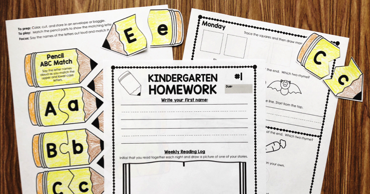Kindergarten Homework – First Quarter