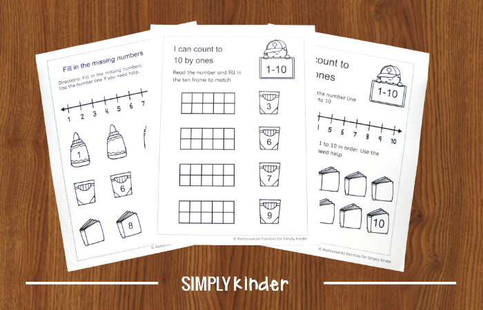 FREE Back To School Counting WorkSheets For Kindergarten