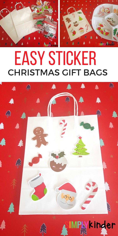 EASY STICKER CHRISTMAS GIFT BAGS PINTEREST