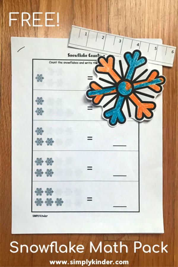 Snowflake printable winter math pack for kindergarten. #kindergarten #printable