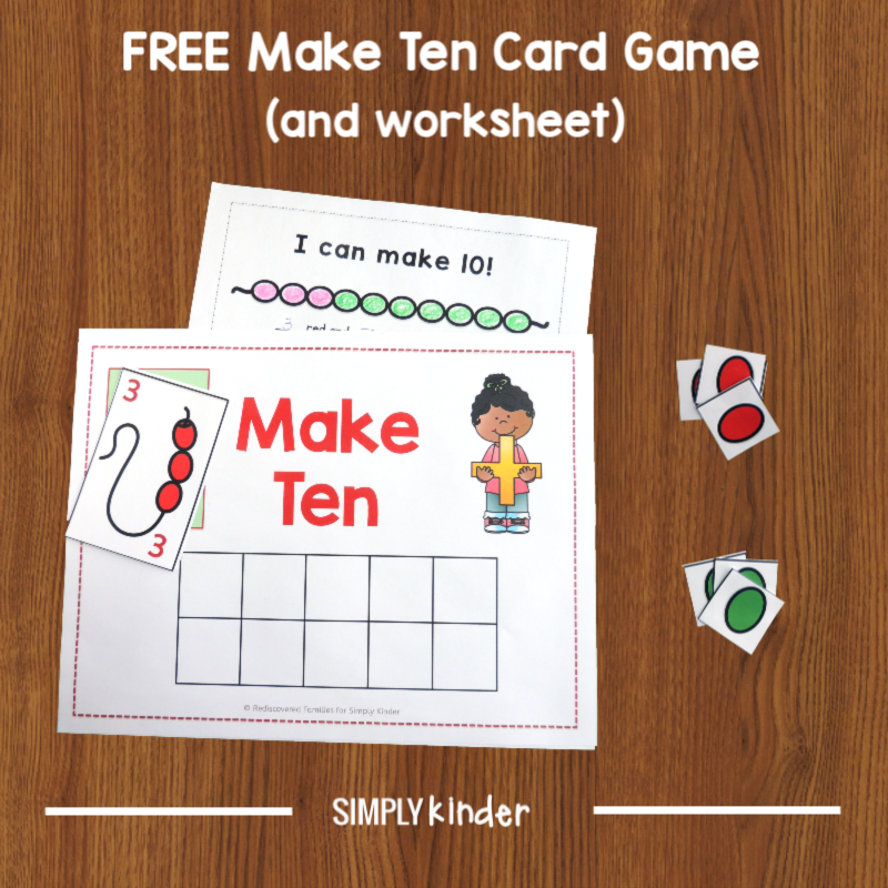 Make Ten: An Easy Game For Kindergarten Students (free printable)