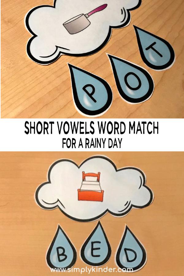 Free printable short vowels worksheets. Short vowel sounds letter matching. #freeprintable #kindergarten