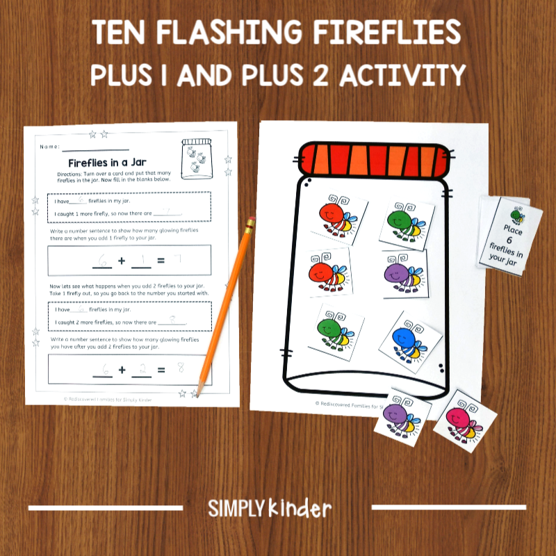 Plus 1 and Plus 2 Activity with Ten Flashing Fireflies