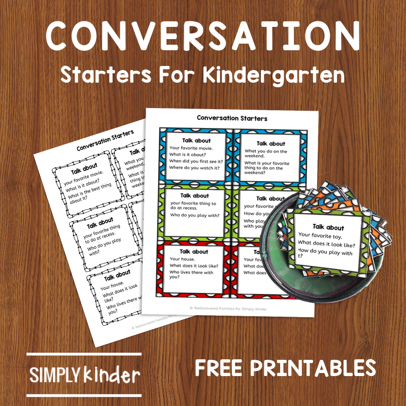 Free Conversation Cards to Help Kinders Practice Speaking and Listening