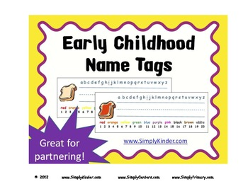 Name Tags or Name Plates – Early Childhood