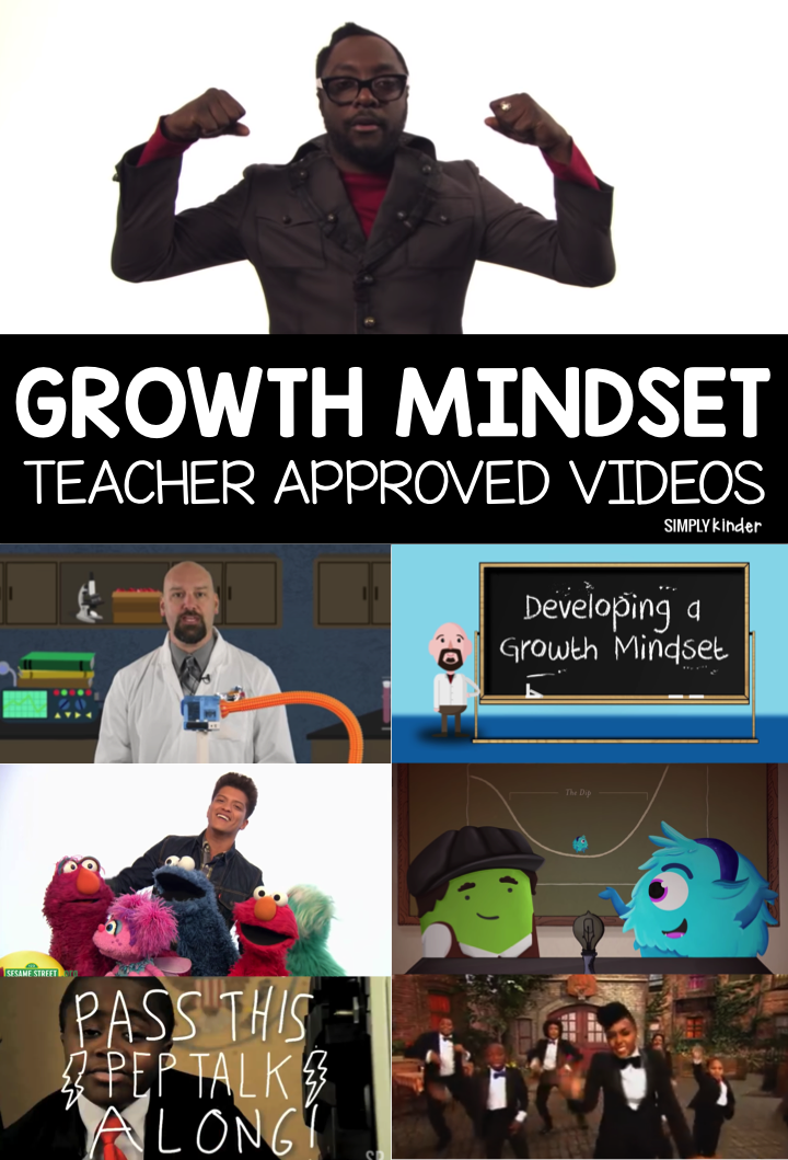 Talking about Growth Mindset in kindergarten can be tricky but we have you covered with this Growth Mindset Teacher Approved Video List.  These videos talk about what exactly growth mindset is and give you some great examples for the different concepts it covers.