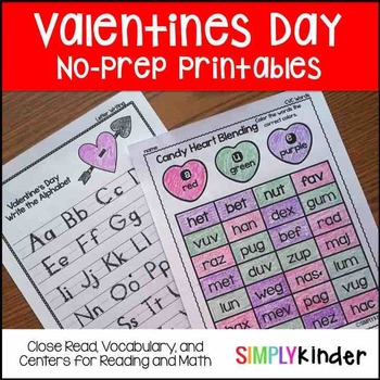 Valentines Day Kindergarten No Prep Printables
