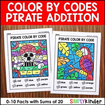 Addition Color By Code (Sums to 20) – Pirate Math