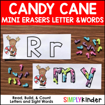 Candy Cane Reindeer Mini Eraser Letters and Words