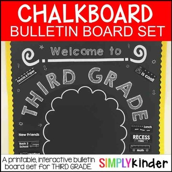 Chalkboard Bulletin Board – First Day of Third Grade – Back to School