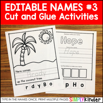 Editable Names Unit #3 – Cut and Paste Activities