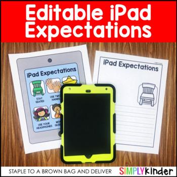 Editable iPad Expectations for Kindergarten