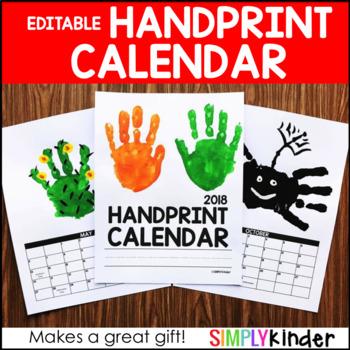 Handprint Calendar 2018 2019 2020 – Editable