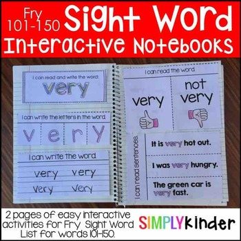 Interactive Sight Word Notebooks – Fry 101-150