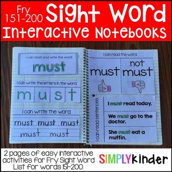 Interactive Sight Word Notebooks – Fry 151-200