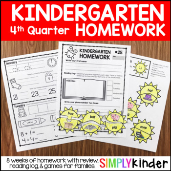 Kindergarten Homework – Fourth Quarter