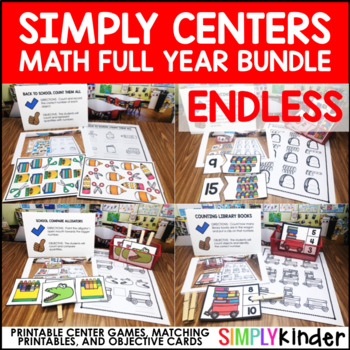 Math Simply Centers – Kindergarten Math Centers Endless Bundle