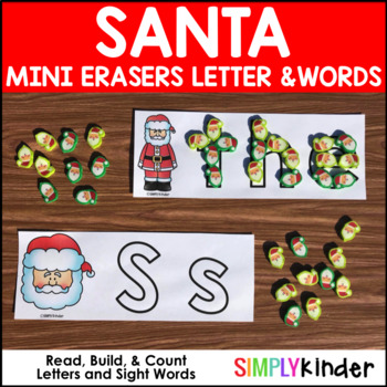 Santa Mini Eraser Letters, Numbers, and Words