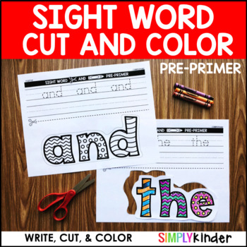 Sight Word Cut and Color – PrePrimer Words