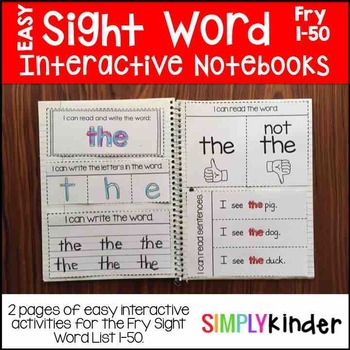 Sight Word Interactive Notebook – Fry 1-50
