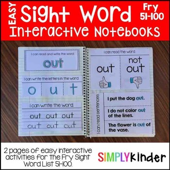 Sight Word Interactive Notebook – Fry 51-100
