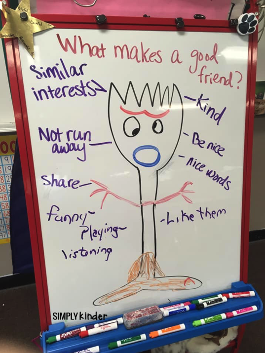 Forky discussion for the first day of school. Follow this up with a Forky craft! More tips and ideas at Simply Kinder.