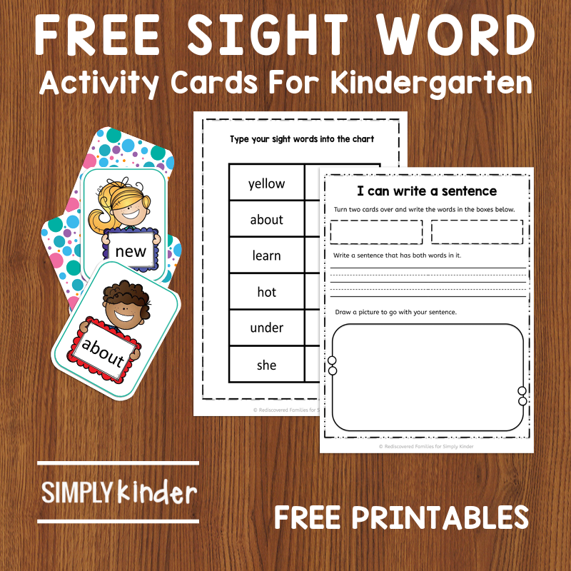 Free Sight Words Printable Card Activity For Kindergarten