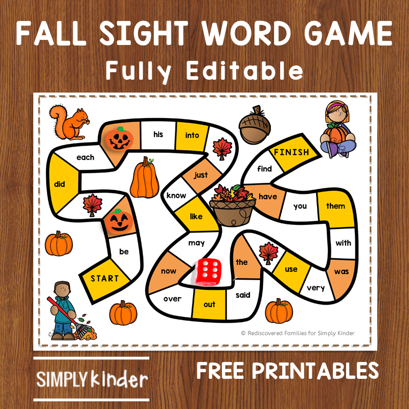 FREE Printable Sight Word Game To Make For Fall