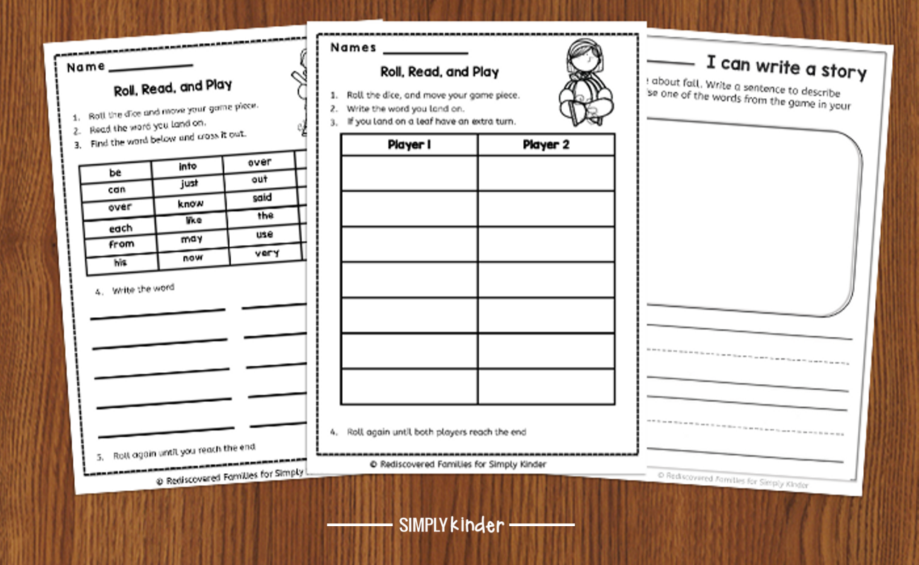 printable sight word game